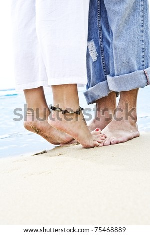 Close up view of  pair of humanâ??s feet on sandy beach back