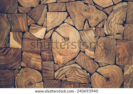 close up view of pieces of teak wood stump background #240693940
