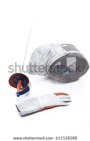 Close-up view of professional fencing equipment  isolated on white