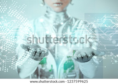 close-up view of robotic hands with digital data isolated on grey, future technology concept  #1237599625