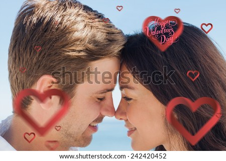 Close up view of romantic couple against happy valentines day
