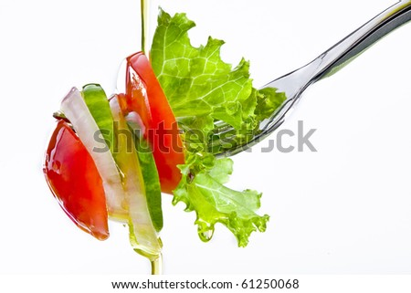 Close up view of sliced vegetables on white back