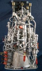 Close-up view of soviet liquid rocket engine.