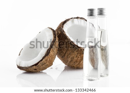 Close up view of spa theme objects on white background