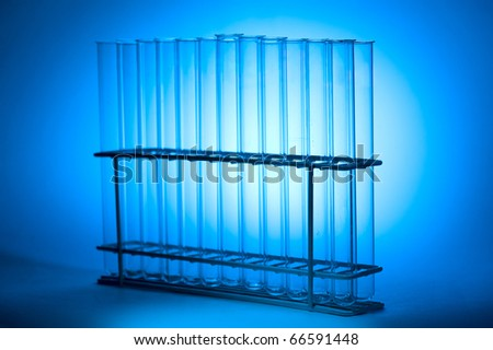Close up view of Test Tubes on blue