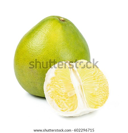 Shutterstock close-up view of Thailand pomelo isolated on white background.