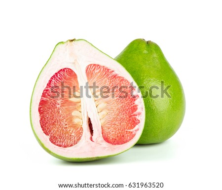 Shutterstock close-up view of Thailand Siam ruby pomelo fruit on white background. Red pomelo.