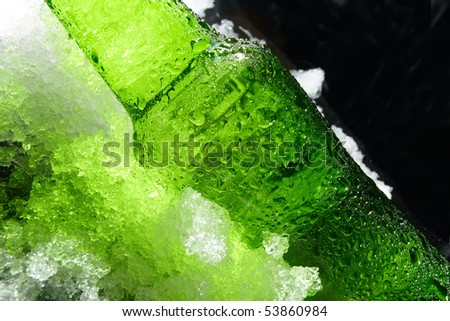 Close up view of the bottle in ice