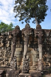 Close-up view of the carvings, sculptures and statues at the ancient Khmer temple complex of Angkor Wat