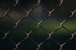 Close-up view of the chainlink fence