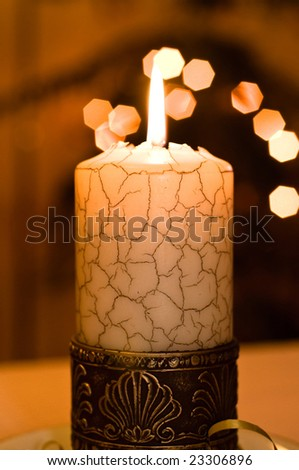 Close up view of the christmas candle.