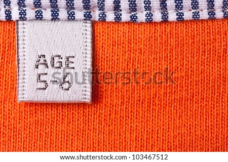 Close up view of the clothing label for children