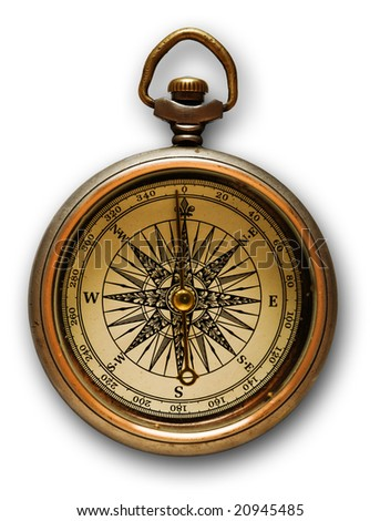 Close up view of the compass on a white background