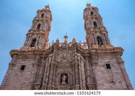 Close up view of the facade of the Metropolitan Cathedral of San Luis Potosi, Mexico. June 2015. #1101624179