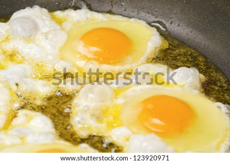 Close up view of the fried eggs on a frying pan
