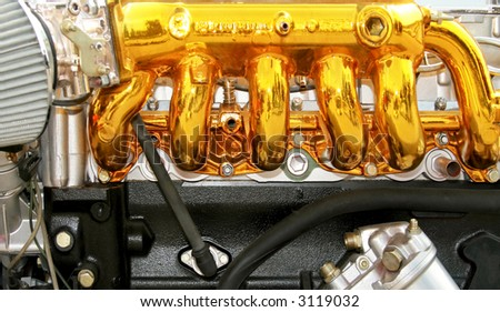 Close up view of the gold engine