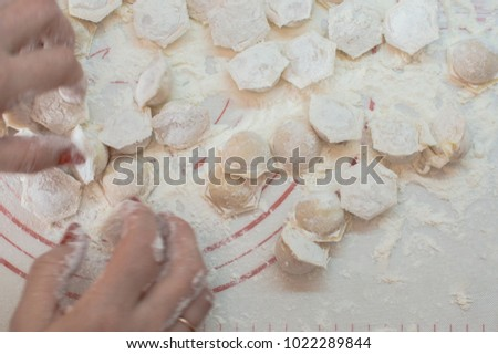 Close-up view of the hands taking potstickers. Motion blur. #1022289844