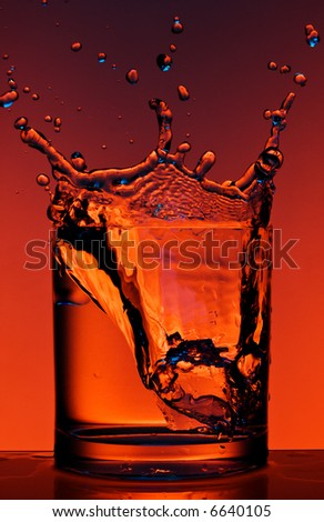 Close up view of the splash in water with different colour lighting