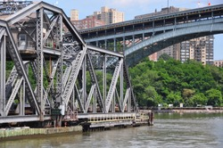 Close up view of the Spuyten Duyvil Bridge and the Henry Hudson Bridge that both cross the Spuyten Duyvil Creek between Manhattan and the Bronx, New York City