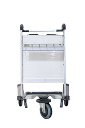 Close up view of trolleys luggage in airport on white background with clipping path