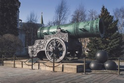close up view of Tsar Cannon at springtime on sunny day