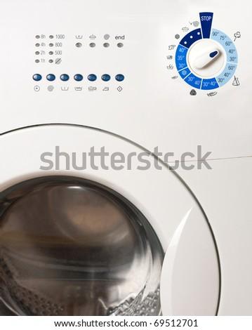 Close-up view of washing machine control panel