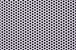 Close up view of white aluminum mesh. round holes in the mesh. Perforated steel grid texture with small holes