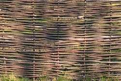 Close-up view of wooden fence from the wicker. Old traditional knitting fence. Organic woven willow wicker. Abstract background, wooden texture.