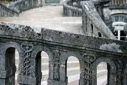 Close up view on ancient stone weathered staircase in palace