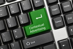 Close-up view on conceptual keyboard - Contextual Advertising (green key)