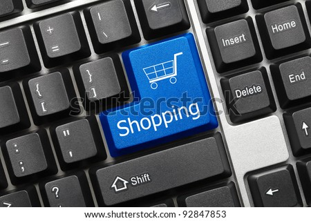 Close up view on conceptual keyboard - Shopping (blue key) - stock photo