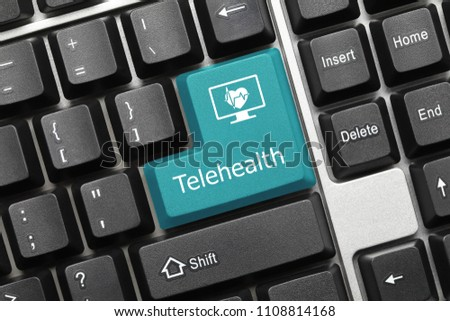 Close-up view on conceptual keyboard - Telehealth (blue key)