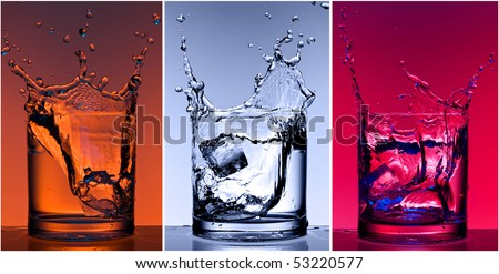 Close-up views of the splash in water with different colour lighting