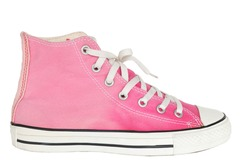 close up vintage style of sport pink gradient sneaker shoe isolated on white background with clipping path