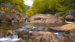 CLOSE UP: Water cascading down over pebble rocks to small green pool in gorgeous autumn colour forest. Small brook splashing over stones in riverbed. Lush dense fall foliage woods in river valley