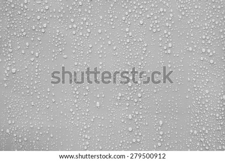 Close up water drop on gray background.