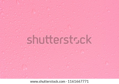 Close up water drops on rose pink tone background. Abstarct purple wet texture with bubbles on window glass surface. Raindrop, Realistic pure water droplets condensed for creative banner design. Red