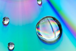 Close up Water drops with Rainbow colorful