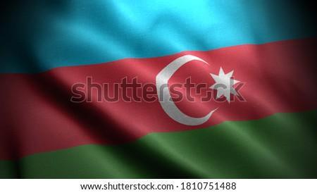 close up waving flag of azerbaijan. flag symbols of azerbaijan.