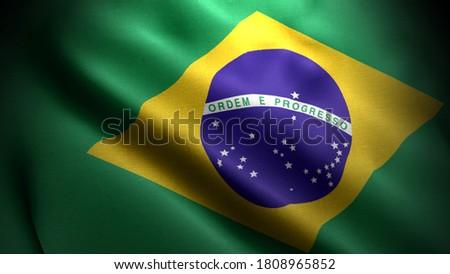 close up waving flag of brazil. flag symbols of brazil.