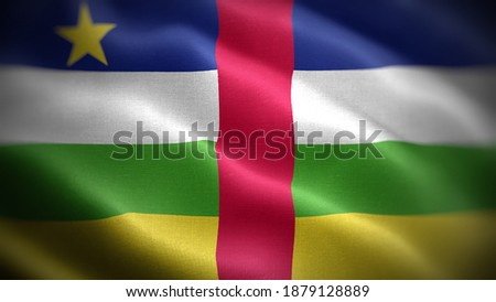 Close up waving flag of Central African Republic. Flag symbols of Central African Republic. Сток-фото ©