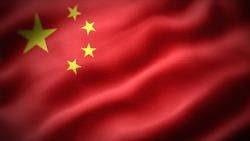 close up waving flag of China. flag symbols of China.
