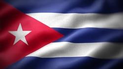 close up waving flag of Cuba. flag symbols of Cuba.