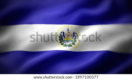 close up waving flag of El Salvador. flag symbols of El Salvador.