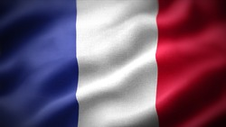 close up waving flag of France. flag symbols of France.
