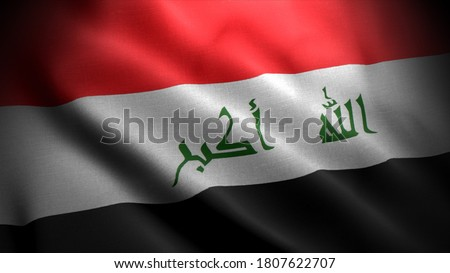 close up waving flag of iraq. flag symbols of iraq.