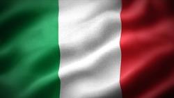 close up waving flag of Italy. flag symbols of Italy.