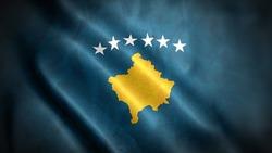 close up waving flag of Kosovo. flag symbols of Kosovo.