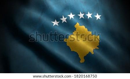 close up waving flag of kosovo. flag symbols of kosovo. ストックフォト ©