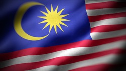 close up waving flag of Malaysia. flag symbols of Malaysia.